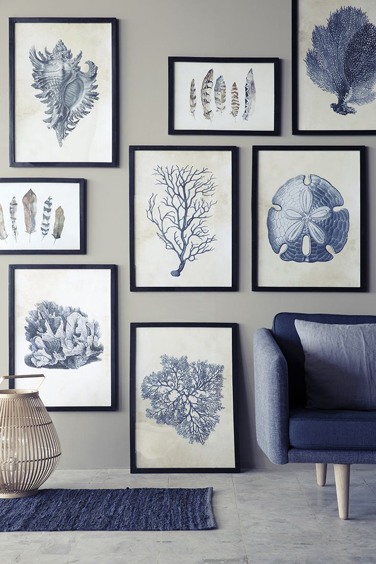 Styling: Marie Graunbøl Photography: Line Thit Klein | lovely blue and white artwall with black frames