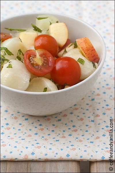 Cooling Apple, Melon and Cherry Tomato Salad with Mint & Lemon ...