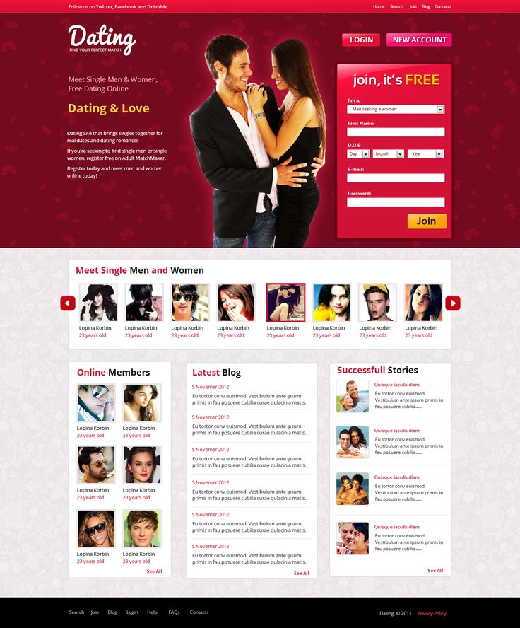 Dating website designer