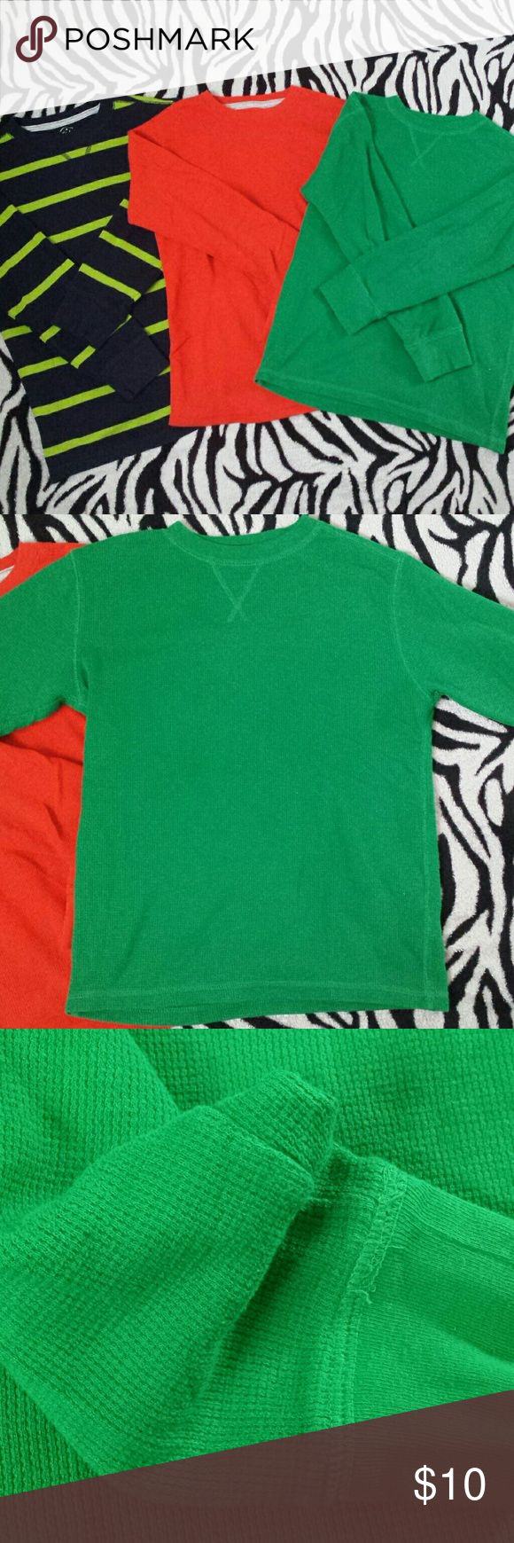 Faded Glory long sleeves All the same size. Orange has a tiny marking on chest area. Green has a tiny hole in left wrist area along with some threads loose. Threading is gine and isn't unraveling. Striped has nothing that I could identify. Pet and smoke free home. Vacuum seal storage. Faded Glory Shirts & Tops