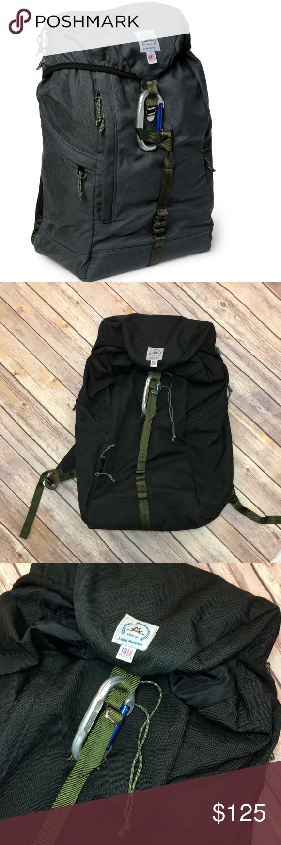 """Epperson Mountaineering Large Climb Pack Epperson Mountaineering Large Climb Pack, great preowned condition.  Black with moss (forest green) webbing and accents.    -DWR-coated 1000 denier Cordura nylon fabric -4 external zipper pockets and inner laptop sleeve -American-made, carabiner closure -Multiple loop webbing (a.k.a. daisy chain)  -Military-grade tubular nylon webbing -Seam-sealed inner compartments -Bar-tack reinforcement at stress points and tension areas   Size Spec: 22.5L / 20"""" x…"""