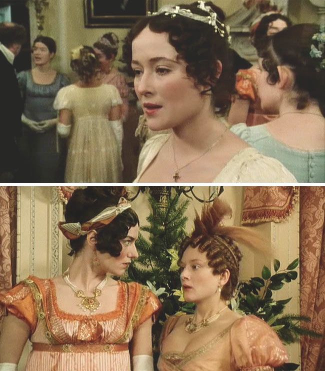 "Pride and Prejudice (1995) Starring: Lucy Scott as Charlotte Lucas, Jennifer Ehle as Elizabeth Bennet, Anna Chancellor as Miss Bingley, and Lucy Robinson as Mrs. Hurst. – ""If I was so fortunate as to be able to sing I should have great pleasure I am sure in obliging the company with an air, indeed I should. For I consider music as a very innocent diversion and perfectly compatible with the profession of a clergyman."" ~ Mr. Collins"