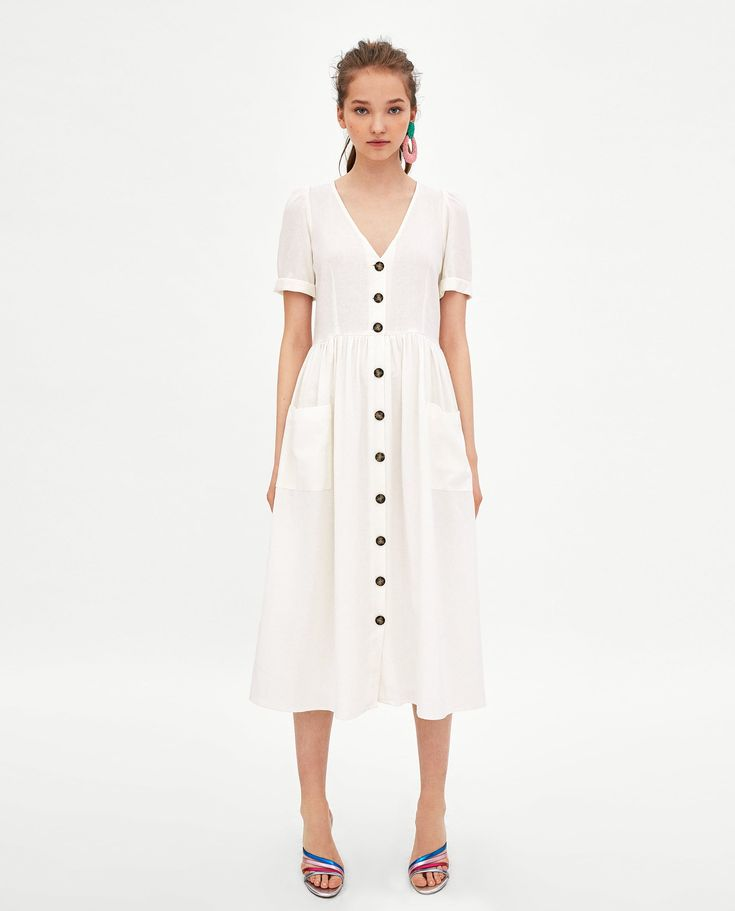 ZARA - WOMAN - LINEN MIDI DRESS WITH BUTTON FASTENING
