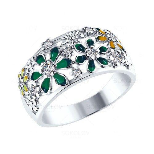 Кольцо украшенное цветами из разноцветной эмали