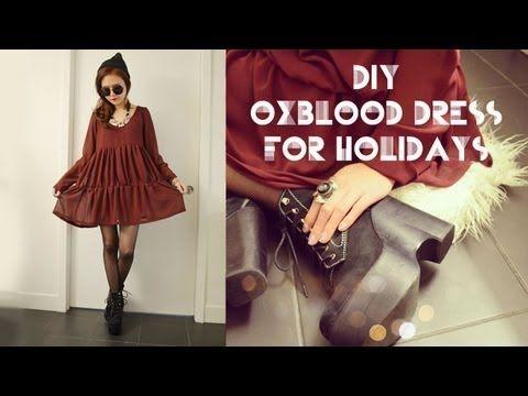 DIY Oxblood Dress for Holidays Ft.Cutiepiemarzia
