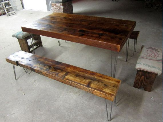 Hairpin Legs Table And Bench For Outside