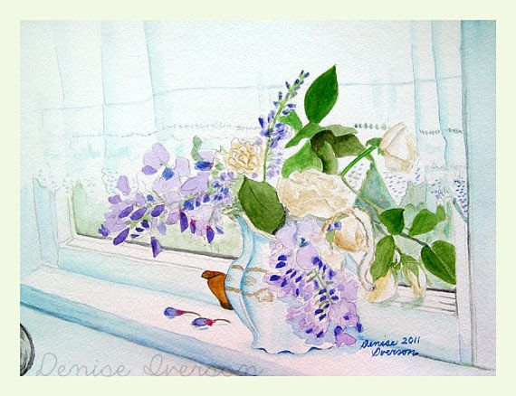 Purple Flowers and White Roses in a Vase Painting - Original Watercolor 9x12 by Denise Iverson