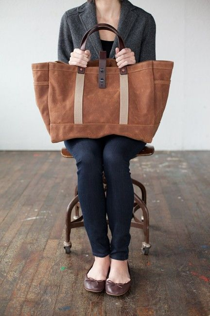 No. 175 Tool / Garden Tote in Rust Waxed Canvas by ArtifactBags