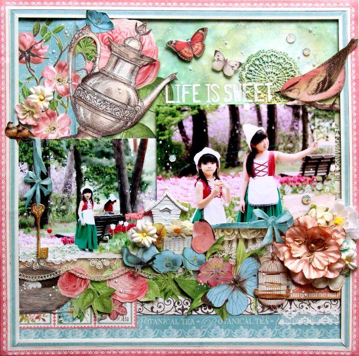 prima Color bloomとTattered Angelsを自然乾燥させると、弾き合って幻想的♪#Graphic45