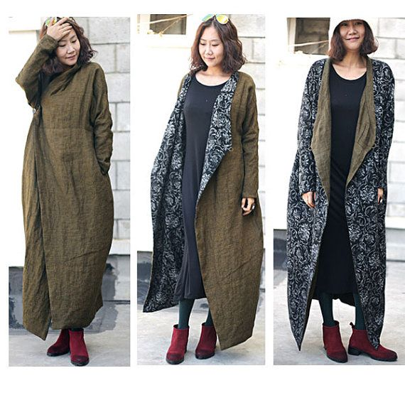 Boho Style long coat dress Linen 2 face wear for tall womens ...