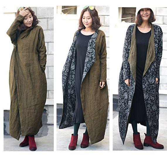 Boho Style long coat dress Linen 2 face wear for tall womens clothing( B347)  2 face wear jacket coat.    1.Code no: B347    2.Linen Fabric