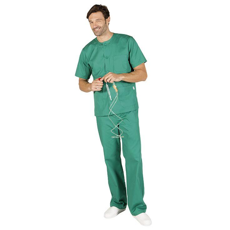 844 conjunto sanitario de blusa abotonada y pantalón con botón en color verde quirofano