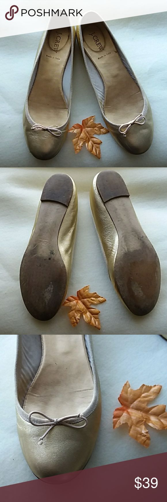 J Crew Gold Ballet shoes Soft and comfy with fine leather.  Made in Italy and ready for dress up or casual outfits.Size 8.5..great condition. J. Crew Shoes Flats & Loafers