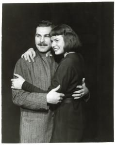 Sam Wanamaker and Ingrid Bergman in Joan of Lorraine.