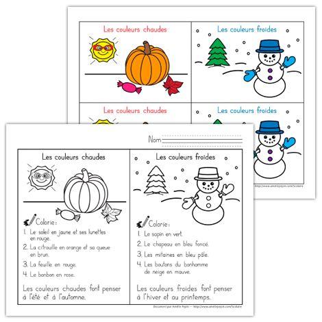 Dans cet exercice, l'élève colorie 2 dessins en suivant les directives données: un dessin représentant les couleurs chaudes et un dessin illustrant les couleurs froides.