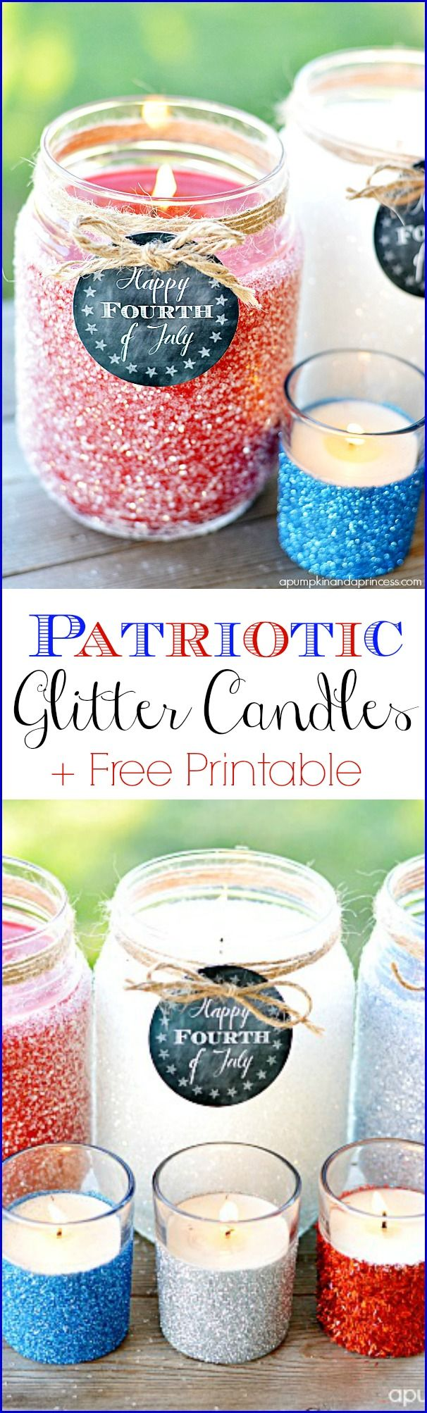 Patriotic Glitter Candles + Free Printable Tags