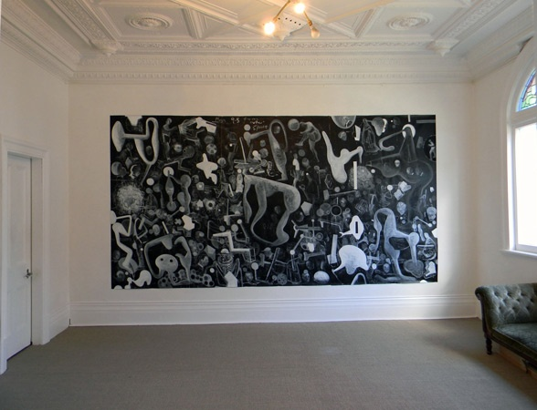 Plan 9.5 From Outer Space  (acrylic on paper) 2100mm x 4110mm  Peter McLeavey Gallery, Wellington, May-June 2012