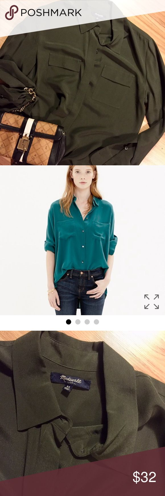 🕵🏻‍♀️ MADEWELL  Silk Spotlight Blouse Loose Fit 🕵🏻‍♀️ After close inspection you will see that this blouse is Made Well! ✔️ Note modeled shirt is similar. One for sale has hidden buttons and is more olive green. Worn a few times. EUC Madewell Tops Button Down Shirts