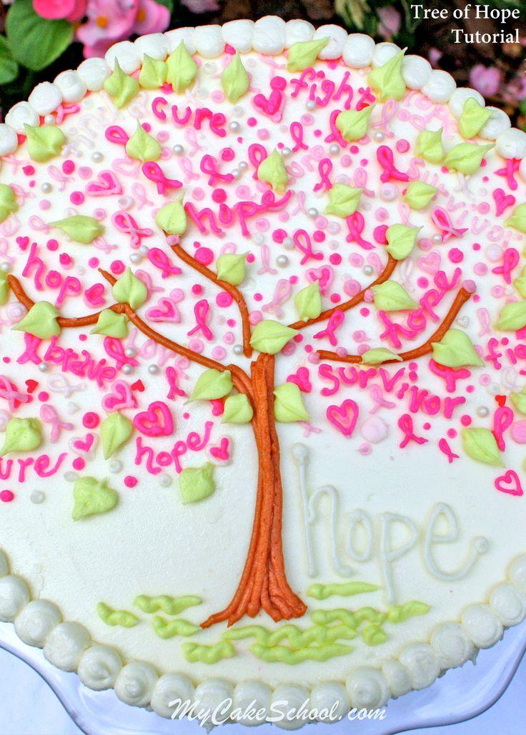 Simple, beautiful Tree of Hope Cake for Breast Cancer Awareness. Free cake tutorial by MyCakeSchool.com.