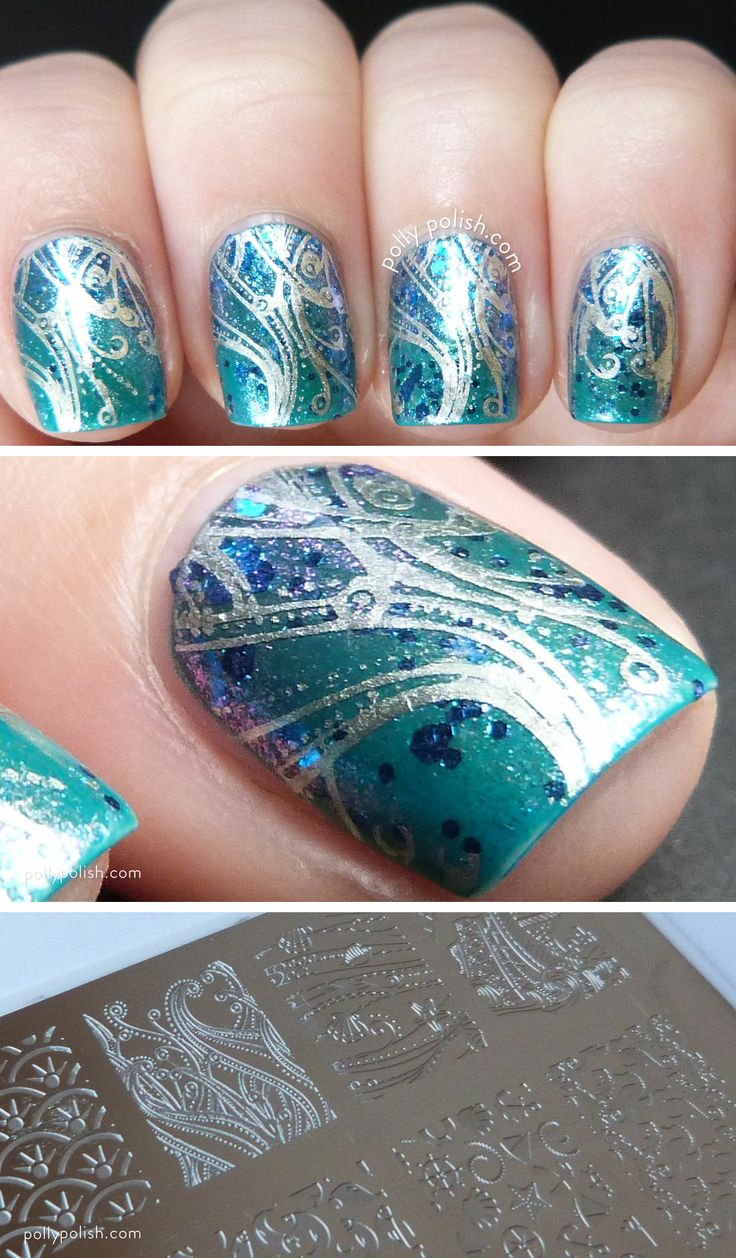 Sailor Collection 5, over a glitter topped blue gradient. More details and images at pollypolish.com.