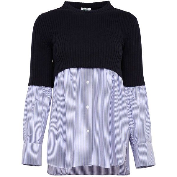 Pull With Shirt Hem ($340) ❤ liked on Polyvore featuring tops, sweaters, long sleeve shirts, long-sleeve shirt, cropped shirts, kenzo shirt and long sleeve crop top