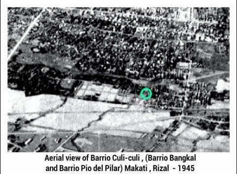 The aerial view of Barrio Culi-Culi during the Japanese occupation. This photo was taken from a military plane during the bombings in the area of Nielson Airfield (now Ayala Avenue and Paseo de Roxas), including the Nichols Airfield in Pasay, facing the Manila Bay or west direction. The green encircle in photo were the place of Lolo Memo's and Tiyo Imo houses. c.1945