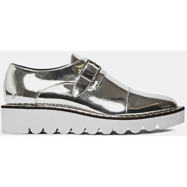 Stella McCartney Pre SS16: Stella McCartney Odette Metallic Brogues ($1,100) ❤ liked on Polyvore featuring shoes, flats, sneakers, metallic, stella mccartney, silver, balmoral shoes, silver shoes, flat shoes and flat pump shoes
