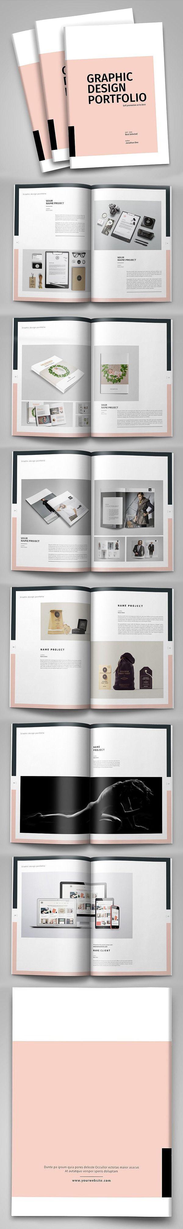 Minimal Design Portfolio Template #brochuretemplate #catalogdesign #booklet #annualreport #printdesign #psdtemplate