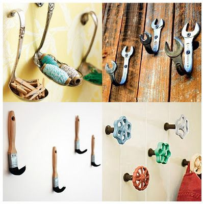 spoons, wrenches, paint brushes, faucet handles, the possibilities are endless for items your can use for coat rack hooks: