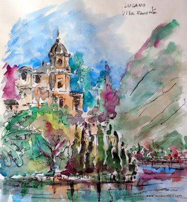 LAURA CLIMENT Villa Favorita. (Watercolor)