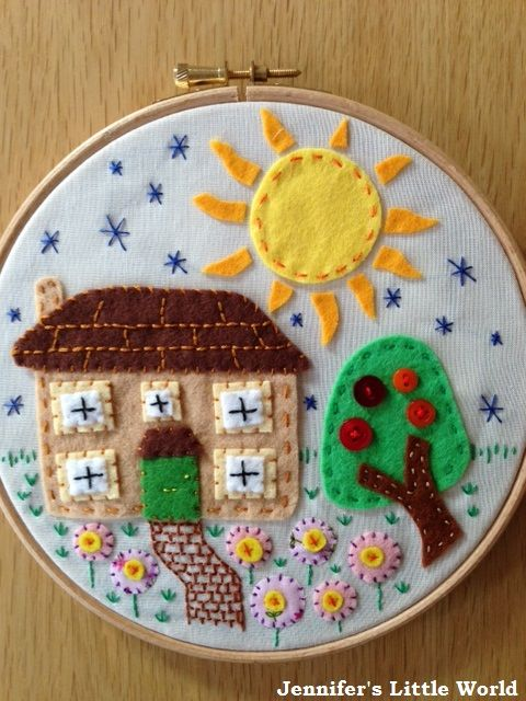 Embroidery hoop art house with flowers
