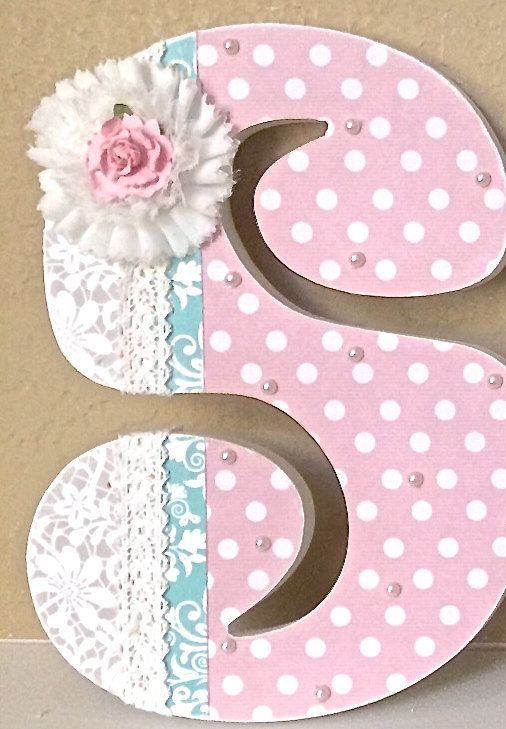 Custom Wooden Nursery Letters Baby Girl Nursery por TheRuggedPearl