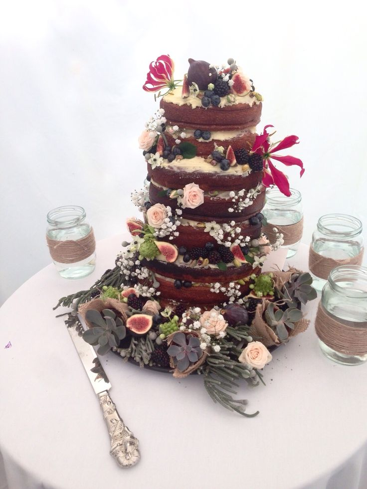 Late Summer Naked Wedding Cake With Figs Blackberries And Blueberries Rose Cardamom