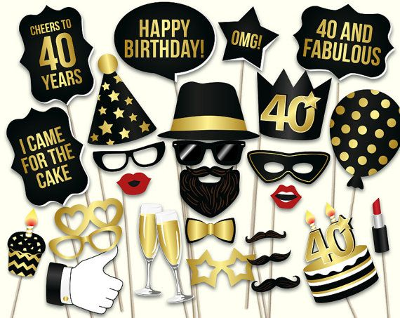 40th birthday photo booth props: printable PDF. Black and gold Forthieth birthday party supplies. Instant download Mustache, lips, glasses and more.