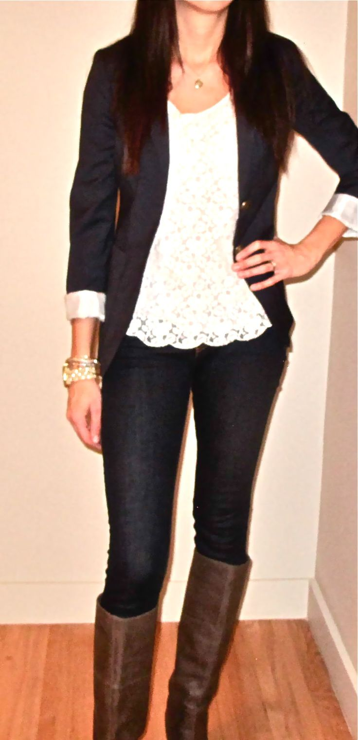 I live the scalloped edge laced shirt with the black blazer with the gold buttons which are accented with the gold bangles and the sleek dark jeans and brown boots.