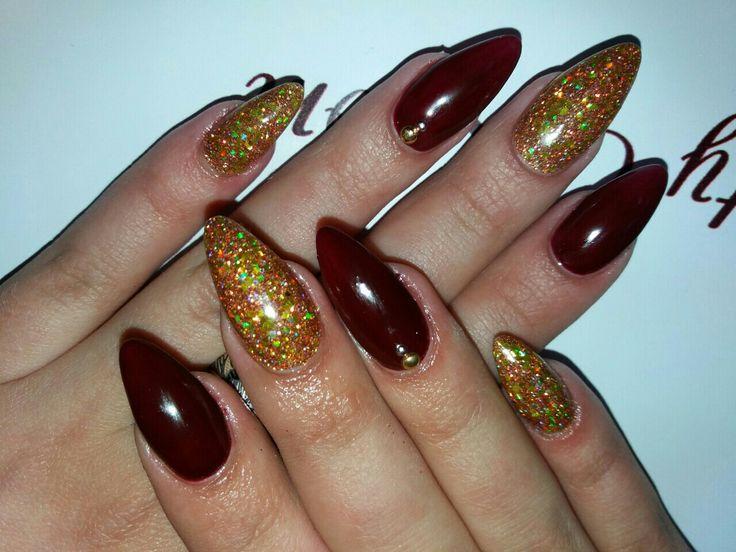#бордовые#ногти#стилет