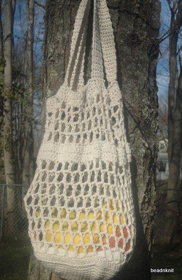 Cream market bag by beadnknit on Etsy, $14.00
