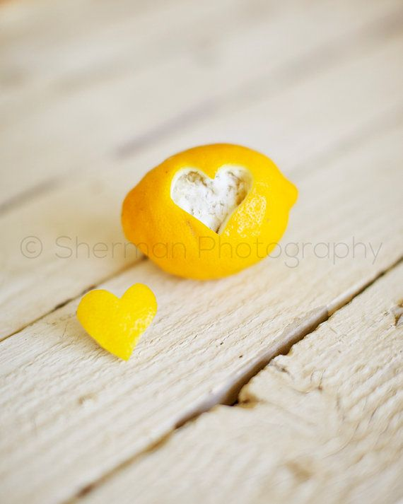 Lemon Photography - Fruit Photo - Love Heart Image Photo - Valentines Day - Yellow - 8x10 8x8 10x10 11x14 12x12 20x20 16x20 - Photography
