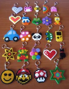 hama/perler bead or cross stitch design idea - charms, keyrings, jewelry, hair clips, cards...