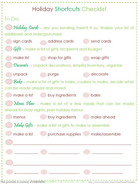 Get a jump on your holiday planning/purchasing/festivities with this FREE Holiday Shortcut printable from Clean Mama