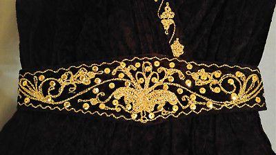 Caftan-sarouel-marocain-velours-noir-extensible-ceinture-perles ... 2b5aa832f3a