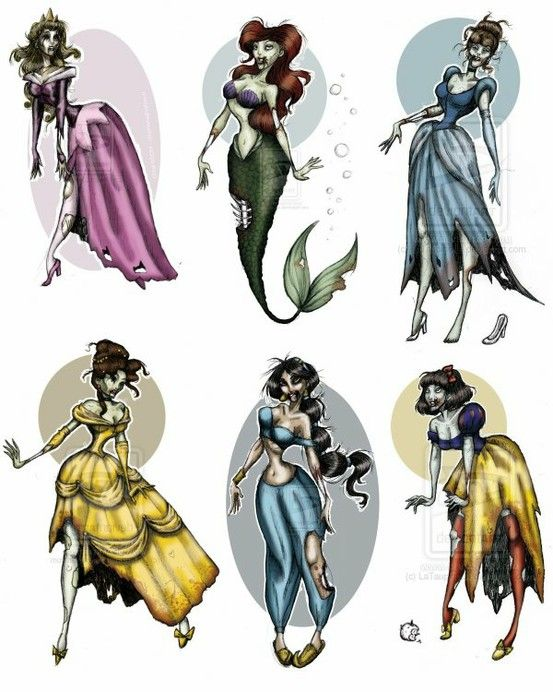 zombie disney princess tattoos! - Click image to find more Art Pinterest pins