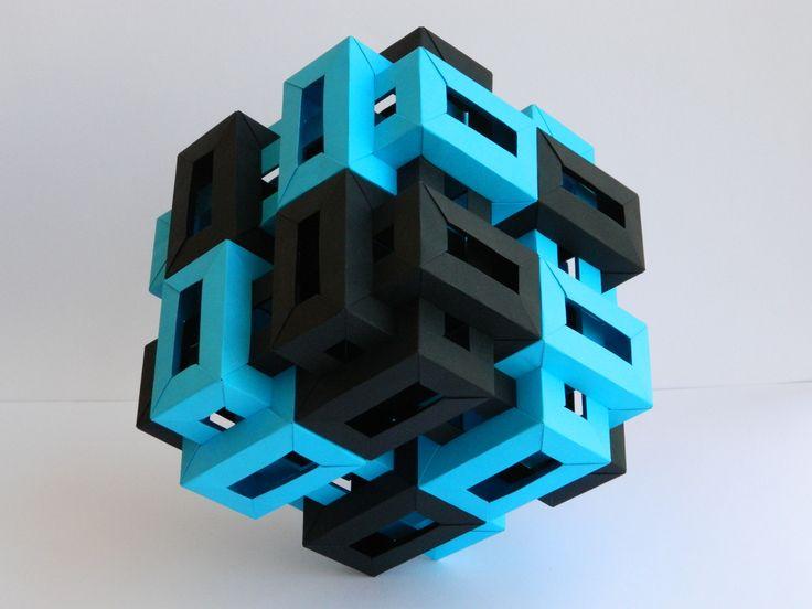 Origami Twelve Interlocking Rectangular Prisms II