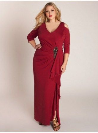 This red evening gown has a v neck line and 3/4 length sleeves.  You can have custom #plussizeeveninggowns made with any changes and in any measurements. We also provide #replicas of designer dresses that are less expensive than the original.  Email us for pricing from our main website.