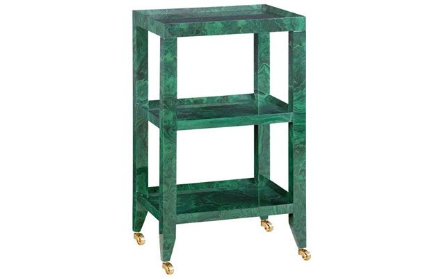 Malachite  Malachite has been favored by notable designers such as Tony Duquette for decades, but this year the dark green stone's marbleized pattern made its way into the mainstream.