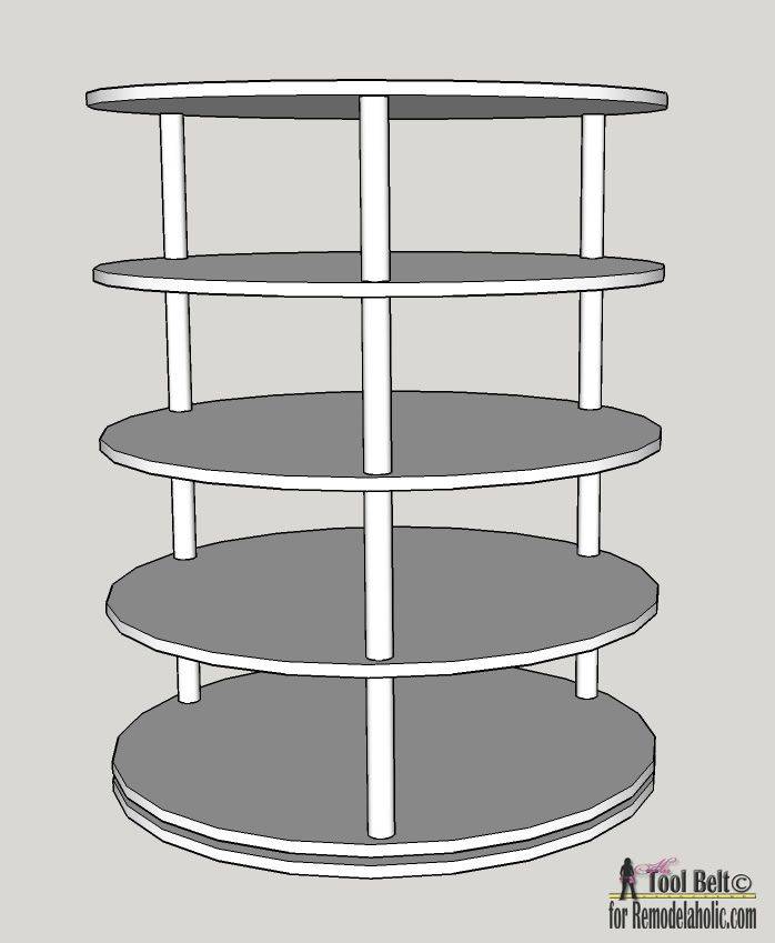 DIY Rotating Shoe Rack Plans on Remodelaholic.com