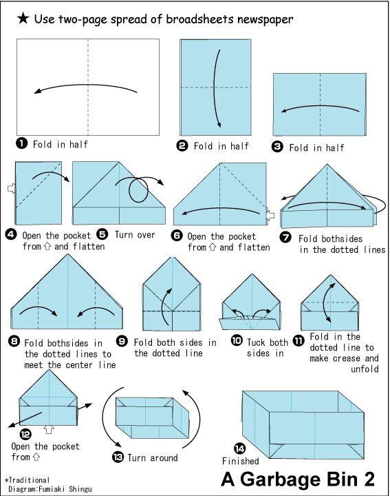Origami Rubbish Bin