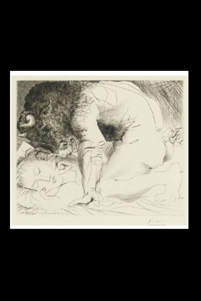 """Pablo Picasso - """" Minotaure caressant une dormeuse """", 1933 - Etching - 29,5 x 36,1 cm (*) (..)"""