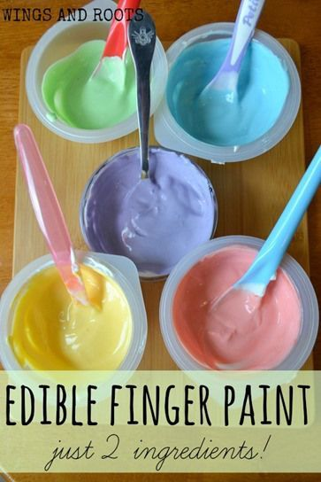 Edible finger paints with just 2 ingredients! For baby safe sensory play.