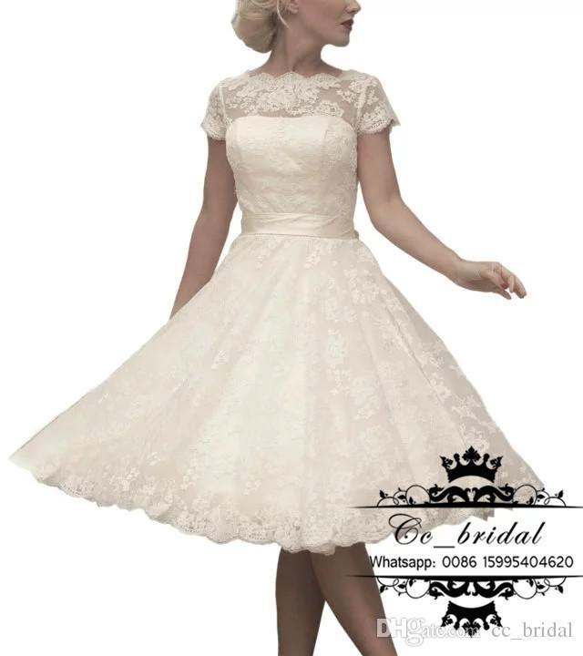 Sexy Sheer Scoop Neck Knee Length Wedding Dresses 2016 New Plus Size Lace In Stock Bridal Gowns Cheap Modest Beach Vestidos De Novia Wedding Dress Online Shop Wedding Dresses Online Shopping From Cc_bridal, $55.16  Dhgate.Com